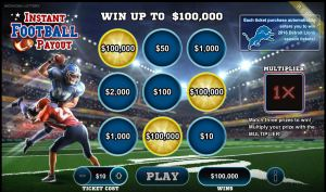 Lisa Laursen's winning Instant Football Payout digital ticket.