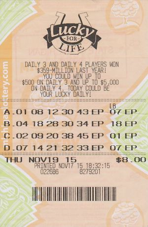Matthew Stelman's winning Lucky For Life ticket.