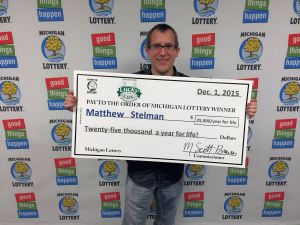 Matthew Stelman has a lifetime of cash to look forward to after winning $25,000 a year for life playing Lucky For Life.