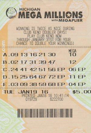 01.21.16 Mega Millions 01.19.16 Draw $1 Million John Rehm Washtenaw County