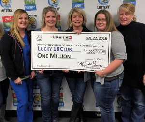 Members of the Lucky 18 Lottery club smile after collecting their $1 million Powerball prize. Pictured left to right are: Tiffany Spaulding, Christina Ferguson, Diana Rushlow, Marcy Davis, and Joanna Goch.