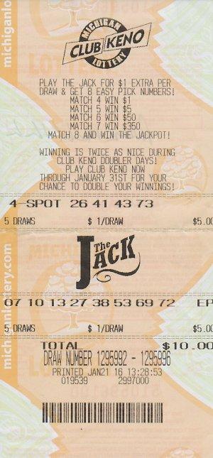 Pat Kukla's winning Club Keno The Jack ticket.