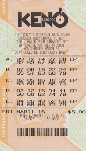 03.15.16 KENO! 03.11.16 Draw $250,000 Anonymous Eaton County