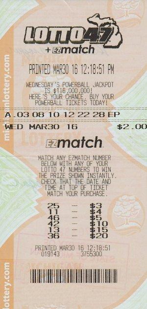 04.11.16 Lotto 47  03.30.16 Draw $1.1 million Anonymous Tuscola County