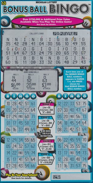 Sally Ann Brock's winning Bonus Ball Bingo ticket.
