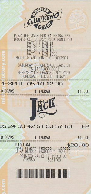 Kurt VanDrus's winning Club Keno The Jack ticket.