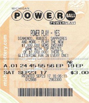 Strickland's winning Powerball ticket.