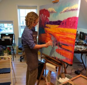 Laying in the colorful underpainting on a large canvas