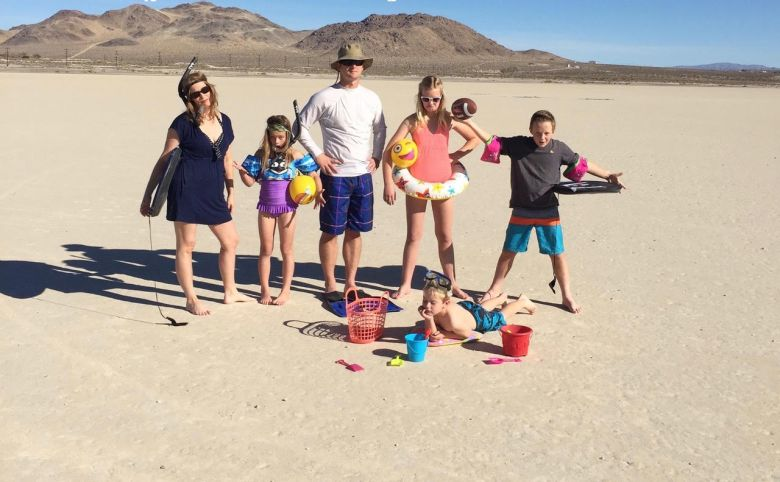 Becky and her family in swimming gear at China Lake