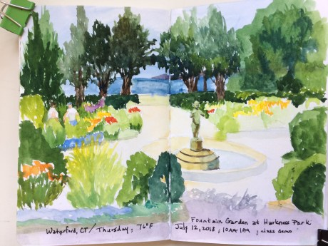 painting of a garden, Harkness Park Sketchbook Demo