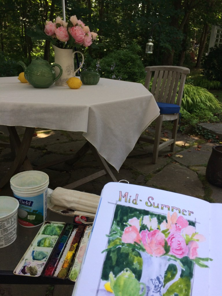 """Roxanne's painting setup for the """"mid Summer"""" painting with the still life subject in the background"""