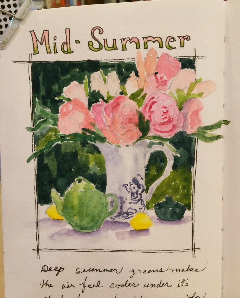 """Painting with the words """"Mid-summer"""" and a white vase of pink flowers"""