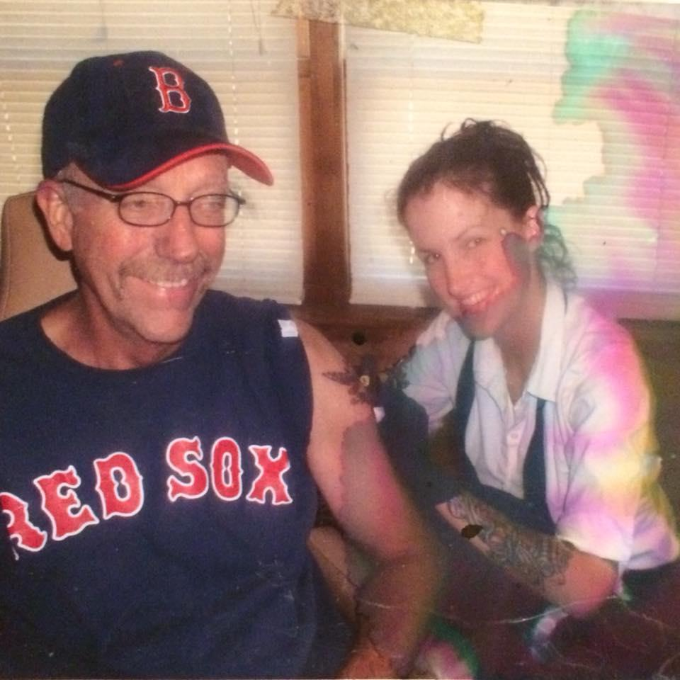 Me tattooing my Dad, a traditional military tattoo with his unit he served with in Vietnam on it
