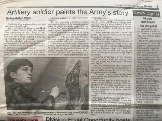 A pic of the write up I got in the Fort Drum post newspaper for the huge DIVARTY mural I did