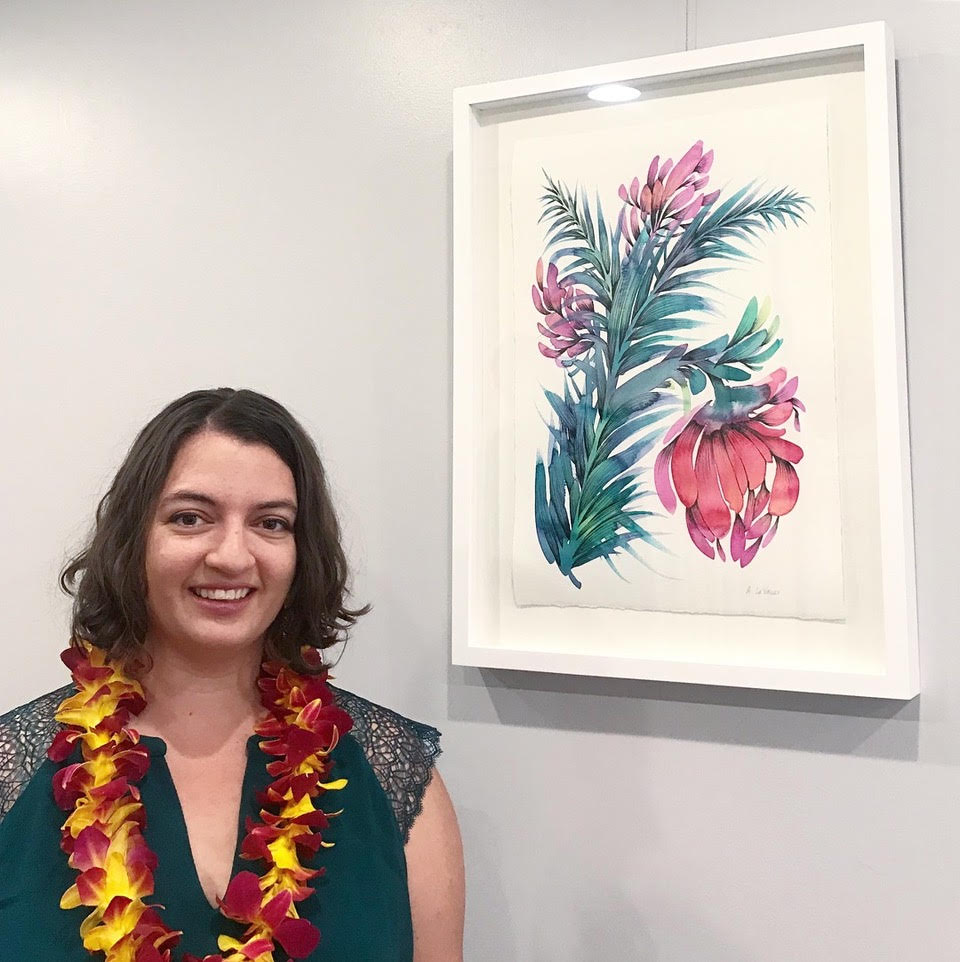"Allison and her painting ""Bloom"""