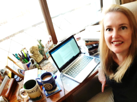 The writer at her desk, at work on the new novel.