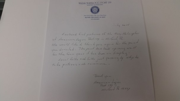 Thank you letter from the American Legion Post 139.