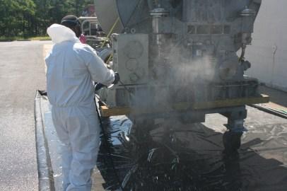 Power-washing Rhode Island Navy Winch