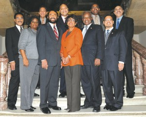 The 10 Congressional Black Caucus Members of Congress who sit on the House Financial Services Committee are, from left, Rep. Emanuel Cleaver II (Mo.), Rep. Gwen Moore (Wis.), Rep. Mel Watt (N.C.), Rep. Al Green (Texas), Rep. Andre Carson (Ind.), Rep. Maxine Waters (Calif.), Rep. David Scott (Ga.), Rep. Gregory Meeks (N.Y.), Rep. Keith Ellison(Minn.), and Rep. William Lacy Clay, Jr. (Mo.).