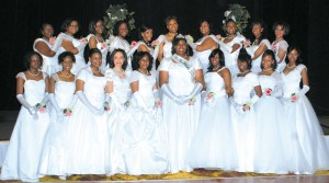 Pictured above are the 2009 AKA Debutantes featured in this year's 36th Annual Cotillion. Pictured in the center is Miss Debutante 2009, Courtney Renee Buchanan. (Photo by Harry Kemp)
