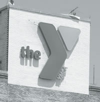 The new Y logo on the Plankinton Building, home to the Downtown YMCA Center.