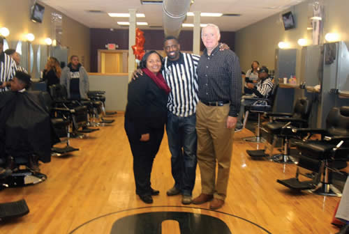 Milele-A-Coggs-Mayor-Tom-Barret-tGaulien-Smith-Gees-Clippers-Hair-Design-Grand-re-opening