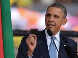Obama speaks at Nelson Mandela memorial service