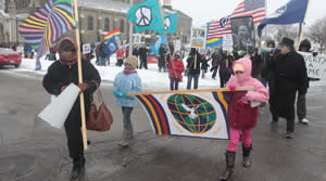 The annual march to the Dr.Martin Luther King, Jr. Statue took place on Monday, Jan. 20,2014. (Photo by Robert A. Bell).