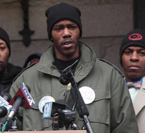 Nate Hamilton, brother of Dontre Hamilton during a press conference (photo by Robert A. Bell)