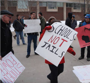 Students protesting possible budget cuts at the UWM campus (Photo by Graham Thomas Kilmer)