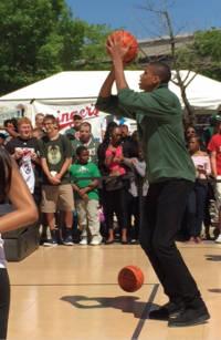 """Bucks player Giannis Antetokounmpo, the """"Greek Freak"""", takes aim for a shot."""