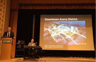 Mayor Tom Barrett presented and answered questions on the proposed Bucks arena at Tuesday's town hall meeting, hosted by Ald. Robert Bauman.