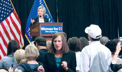 Hillary Clinton speaks to a crowd of supporters in the Wisconsin Room in the UWM Union. (Photo by Eelisa Jones)