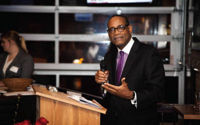 Rahim Islam speaks at the first Black Votes Matter event on Tuesday. Photo courtesy of PARKHILL MEDIA.
