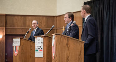 Public Policy Forum President Rob Henken (left) moderates the first Milwaukee County Executive debate between Inc. Chris Abele (middle) and Senator Chris Larsen. Photo by Landre Photography.