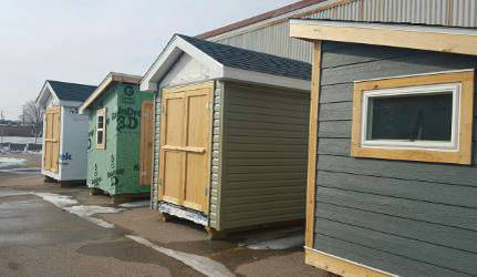 Sheds that students built to gain hands-on experience and develop their tool use. See bottom of article for details regarding purchase of sheds