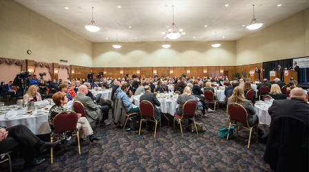 A large audience enjoys a meal while listening to the first Milwaukee County Executive debate. Photo by LJL Photo.