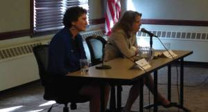 Supreme Court Candidates JoAnne Kloppenburg (left) and Rebecca Bradley (Right) make their fi nal statements. Photo by Dylan Deprey.