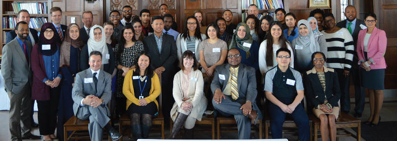 The high school and college BMO Scholars with staff from BMO Harris Bank, Boys & Girls Clubs and Marquette University. Photo by Rebecca Ehlers.