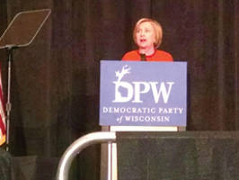 Democratic presidential candidate Hillary Clinton speak to and greets her supporters at Wisconsin Democratic Founders Day Gala. Photo by Mrinal Gokhale.
