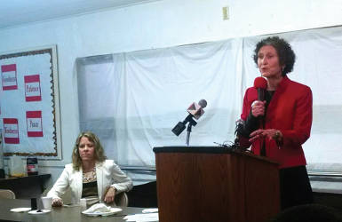 Wisconsin Supreme Court Judge candidate JoAnne Kloppenburg speaks at Community Brainstorming, along with her opponent, Rebecca Bradley. (photo by Mrinal Gokhale.)