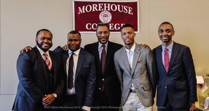 Justin Wilks, DeVon Kidd, Morehouse President Dr. John Silvanus Wilson, Nicholas Stokes and Aaron Blake. (Photo by Montreal Cain)