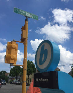 Martin Luther King, Jr. Drive and Brown Street is one of ten new Bublr bike share locations implemented on May 20. (Photo by Bublr Bikes)