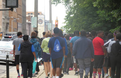SYIP interns walking downtown for Healthy Living Day. (Photo by Karen Stokes)