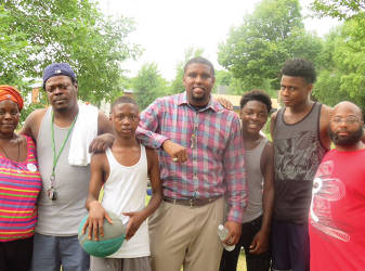 James Harris (center), organizer of the Block Party and Sherman Park residents. (photo by Karen Stokes)