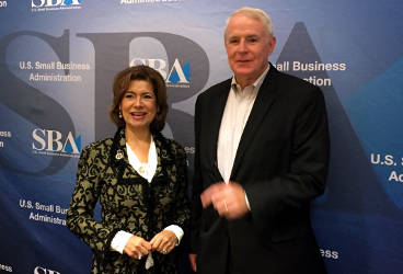 Mayor Tom Barrett and SBA Administrator Maria Contreras-Sweet during the StartSmart website launch. (Photo by Dylan Deprey)