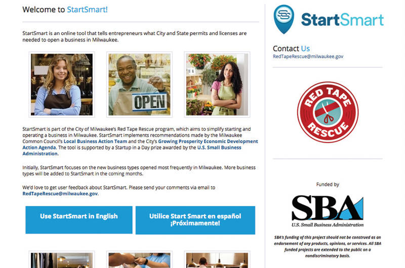 A screen shot of the StartSmart application on the City of Milwaukee website. (Photo by Dylan Deprey)