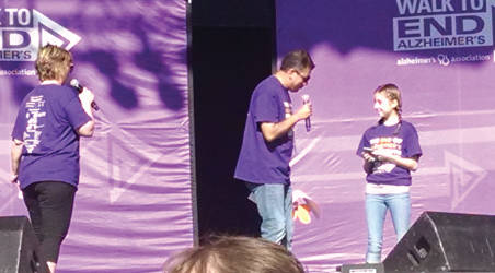 """Van """"The Man"""" McNeil of B93.3 FM introduces 12 year old Ariel Marks before she sang the National Anthem. (Photo by Mrinal Gokhale)"""