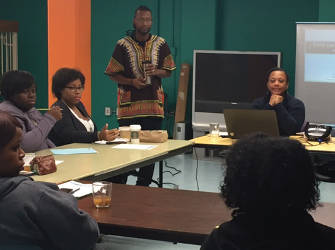 African American Breastfeeding Network monthly meeting on Child Care and Workplace Support with Robert, father advocate and executive director Dalvery Blackwell. (Photo by Karen Stokes)