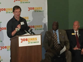 Milwaukee County Executive Chris Abele said JobLines was a start, but more funding was needed from the state to improve transportation. (Photo by Dylan Deprey)